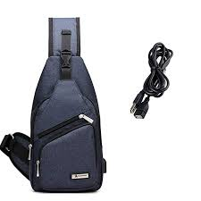 Sling Bag with USB Charging Port Crossbody Canvas <b>Chest</b> Bag for ...