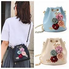 Flower <b>Bucket Shoulder</b> Bags <b>Lady</b> Handbag <b>Drawstring Bag</b> ...
