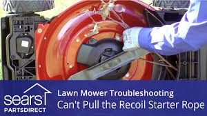 Lawn Mower Won't <b>Start</b>: Can't <b>Pull</b> the <b>Recoil Starter</b> Rope - YouTube