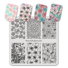<b>BEAUTYBIGBANG 6*6cm</b> Nail <b>Stamping Plates</b> Flower Pattern ...