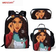 <b>WHEREISART</b> Fashion Kids School Backpack For Girls <b>Afro Black</b> ...