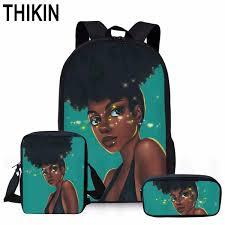 <b>THIKIN 3 PCS SET</b> Shiny Black Art Africa Kids School Bag for Child ...