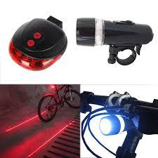 New <b>Bike Front</b> Head Lights+Safety Warning Light <b>5 LED</b>+2 Laser ...