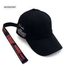 Korea Adjustable Cotton Baseball <b>Caps</b> Side Letter Long Belt Tails ...