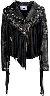 Women's Tassels Leatherwear Zipper Motorcycle Jackets <b>Fashion</b> ...