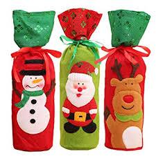 Coxeer 3PCS <b>Christmas</b> Wine Bottle Bag Bottle Cover Cute <b>Cartoon</b> ...