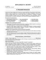 it professional resume examples recentresumes com sample it resume objectives it program manager professional experience