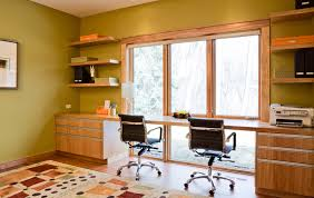 organic modern inspiration for a contemporary home office remodel in minneapolis with a built in desk chic shaped home office