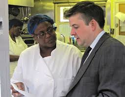 jon ashworth mp for leicester south   on your sidejon ashworth mp talking   berneta layne  kitchen manager of the west indian senior citizens