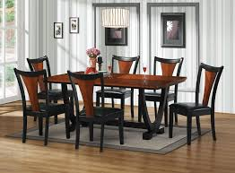 oak dining table black leather