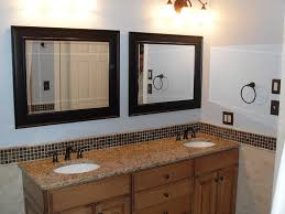 elegant bathroom mirror with black frame idea plus colorful backsplash tile feat traditional vanity cabinet bathroom vanity bathroom vanity lighting ideas combined