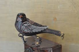 <b>Steampunk</b> bird <b>hand carved</b> art bird mixed media assemblage art ...