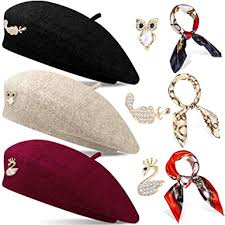 3 Sets Wool <b>Beret Hat</b> French Artist <b>Beret</b> Beanie <b>Hats</b> with Square ...