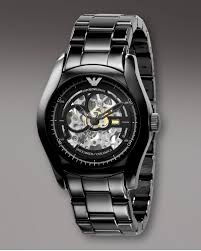 emporio armani automatic ceramic watch in black for men lyst gallery