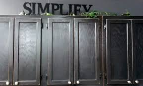 Grey Stained Kitchen Cabinets Furniture Wall Mounted Old Oak Kitchen Cabinet Painted With Black