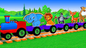 Wooden <b>Animals Toy</b> Train Video - 3D <b>Animation Cartoons</b> - YouTube