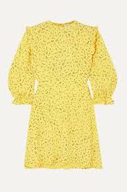 Yellow Edwina ruffled <b>floral</b>-print crepe mini dress | Faithfull The Brand