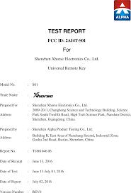 S01 <b>Universal Remote Key</b> Test Report 1 Shenzhen Xhorse ...