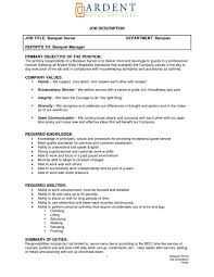 cover letter waiters job description waiters job description pdf cover letter job description of a bartender banquet server job for resume example sample my banquetwaiters