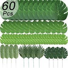 ENTHUR 60 Pcs 6 Kinds Artificial Palm <b>Leaves Tropical Plant</b> Safari ...