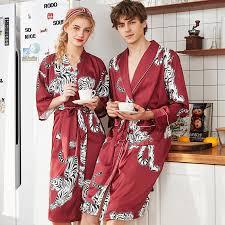 <b>2019 Printing Tiger Summer</b> Satin Kimono Men Bathrobe Women ...