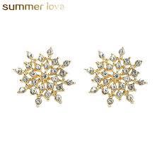 2019 <b>New Fashion</b> Sliver Gold Color Crystal <b>Snowflake Stud</b> ...