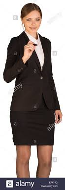 Beautiful girl in <b>business suit</b> holding <b>pen</b> and writing Stock Photo ...