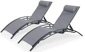 Alice's Garden - 2 <b>Aluminium</b> and <b>textilene sun loungers</b> reclining ...