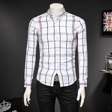 2018 summer long sleeve plaid shirt men casual cotton slim fit mens ...