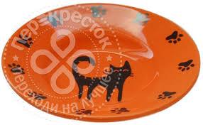 <b>Миска для животных Foxie</b> Cat Plate оранжевая керамическая ...
