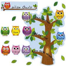 colorful owls class management bulletin board set bulletin board