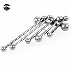 10 pcs/lot 14G <b>G23 Titanium Internally</b> Thread Tongue Ring Barbells ...