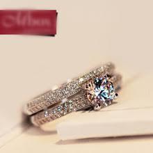 Bamos <b>Luxury Female</b> White Bridal Wedding Ring Set Fashion 925 ...