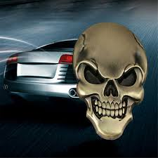 1/<b>3PCS</b> SKULL BONE <b>Car</b> Motorcycle <b>Auto Chrome 3D Metal</b> ...