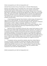 discrimination essay our work gender discrimination essay devaluation on gender stereotyping by