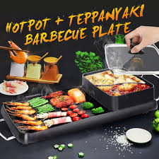 Other Cookware <b>220V</b> 2 In 1 <b>Electric</b> Barbecue Pan Grill Teppanyaki ...