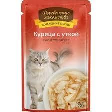 <b>Деревенские лакомства влажный корм</b> для кошек с курицей и ...