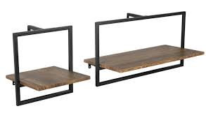 Buy Argos Home Loft Living <b>Set of 2</b> Metal Surround Shelves | Wall ...