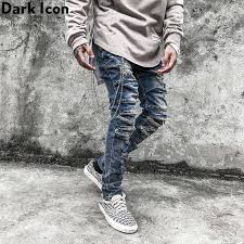 <b>Dark Icon Vintage</b> Blue Hip Hop Jeans Men Slim Fit Ripped Denim ...