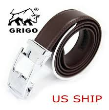 <b>Men's Casual</b> White Belts <b>Genuine Leather</b> Belt Grid Automatic ...