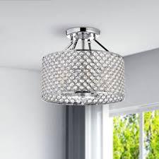 chrome crystal 4 light round ceiling chandelier bedroom chandelier lighting