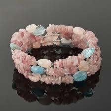Купить <b>Браслет микс аквамарин</b>, <b>берилл</b>, розовый кварц (биж ...