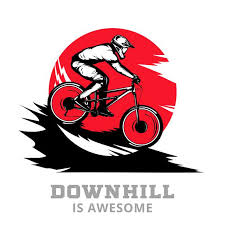 Premium Vector | <b>Downhill</b> mountain biking with rider on a bike in ...