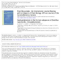 Seed germination in the Sicilian subspecies of Dianthus rupicola Biv.