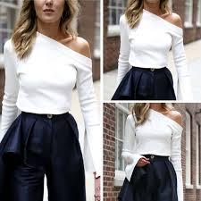 HIRIGIN New Fashion <b>Off One Shoulder</b> Blouse Women Long ...