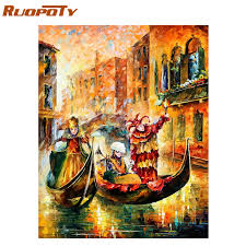 RUOPOTY Frame Abstract Boat <b>DIY Painting By</b> Numbers Modern ...