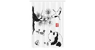 Asian Stall Shower Curtain, Bird Cedar <b>Panda</b> Bear Traditional ...