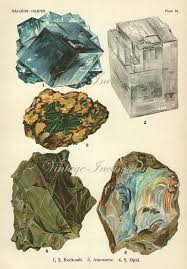 Vintage 1916 Minerals Crystals <b>Rocks Print</b> Antique Gems Precious ...