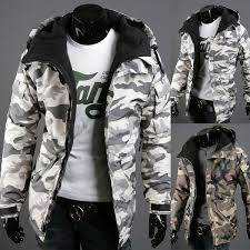 <b>Spring and Autumn Men's</b> Warm Fleece Hooded Camouflage Jacket ...