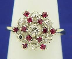 1/4 ct DIAMOND & RUBY CLUSTER RING <b>REAL SOLID</b> 14 KW ...